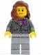 Minifig No: cty0169  Name: Dark Bluish Gray Jacket with Magenta Scarf, Light Bluish Gray Legs, Reddish Brown Female Hair over Shoulder, Peach Lips