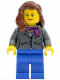 Minifig No: cty0185  Name: Dark Bluish Gray Jacket with Magenta Scarf, Blue Legs, Reddish Brown Female Hair over Shoulder