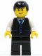 Minifig No: cty0186  Name: Black Vest with Blue Striped Tie, Black Legs, White Arms, Black Male Hair (Bus Driver)