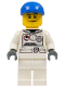 Minifig No: cty0226  Name: Spacesuit, White Legs, Blue Short Bill Cap, Black Eyebrows