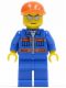 Minifig No: cty0227  Name: Blue Jacket with Pockets and Orange Stripes, Blue Legs, Orange Short Bill Cap, Silver Sunglasses