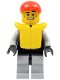 Minifig No: cty0236  Name: Lifeguard - Leather Jacket with Zipper, Red Lines and Logo Pattern, Life Jacket, Red Short Bill Cap