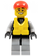 Minifig No: cty0236a  Name: Lifeguard - Leather Jacket with Zipper, Red Lines and Logo Pattern, Life Jacket Center Buckle, Red Short Bill Cap
