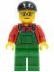 Minifig No: cty0245  Name: Overalls Farmer Green, Black Short Bill Cap and Glasses