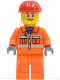 Minifig No: cty0246  Name: Construction Worker - Orange Zipper, Safety Stripes, Orange Arms, Orange Legs, Red Construction Helmet, Glasses with Gray Side Frames (Crane Operator)