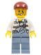 Minifig No: cty0265  Name: Police - Jail Prisoner Torn Overalls over Prison Stripes, Sand Blue Legs, Dark Red Short Bill Cap