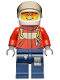 Minifig No: cty0278  Name: Fire - Pilot Male, Red Fire Suit with Carabiner, Dark Blue Legs with Map, White Helmet, Orange Sunglasses