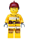 Minifig No: cty0286  Name: Fire - Bright Light Orange Fire Suit with Utility Belt, Dark Red Fire Helmet