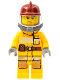 Minifig No: cty0301  Name: Fire - Bright Light Orange Fire Suit with Utility Belt, Dark Red Fire Helmet, Yellow Airtanks, Sweat Drops