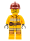 Minifig No: cty0302  Name: Fire - Bright Light Orange Fire Suit with Utility Belt, Dark Red Fire Helmet, Crooked Smile and Scar
