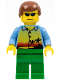 Minifig No: cty0305  Name: Sunset and Palm Trees - Green Legs, Reddish Brown Male Hair, Sunglasses