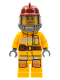 Minifig No: cty0307  Name: Fire - Bright Light Orange Fire Suit with Utility Belt, Dark Red Fire Helmet, Yellow Airtanks, Black Eyebrows, Chin Dimple