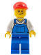 Minifig No: cty0320  Name: Overalls Blue over V-Neck Shirt, Blue Legs, Red Short Bill Cap, Crooked Smile