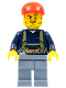 Minifig No: cty0333  Name: Miner - Shirt with Harness and Wrench, Sand Blue Legs, Red Short Bill Cap