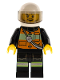 Minifig No: cty0344  Name: Fire - Reflective Stripe Vest with Pockets and Shoulder Strap, White Helmet