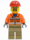 Minifig No: cty0366  Name: Construction Worker - Orange Zipper, Safety Stripes, Orange Arms, Dark Tan Legs, Red Construction Helmet, Safety Goggles