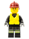 Minifig No: cty0372  Name: Fire - Reflective Stripes with Utility Belt, Dark Red Fire Helmet, Life Jacket Center Buckle