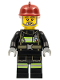 Minifig No: cty0381  Name: Fire - Reflective Stripes with Utility Belt, Dark Red Fire Helmet, Gray Beard