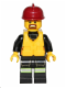 Minifig No: cty0382  Name: Fire - Reflective Stripe Vest with Pockets and Shoulder Strap, Dark Red Fire Helmet, Life Jacket Center Buckle