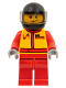Minifig No: cty0385  Name: Monster Truck Driver, Race Suit with Airborne Spoilers Logo, Black Helmet with Trans-Black Visor, Crooked Smile