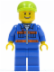Minifig No: cty0388  Name: Blue Jacket with Pockets and Orange Stripes, Blue Legs, Lime Short Bill Cap, Thin Grin with Teeth
