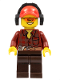 Minifig No: cty0405  Name: Flannel Shirt with Pocket and Belt, Dark Brown Legs, Red Cap with Hole, Headphones, Orange Sunglasses