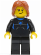 Minifig No: cty0407  Name: Coast Guard City - Surfer in Wetsuit, Dark Orange Tousled Hair, Crooked Smile