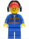 Minifig No: cty0420  Name: Blue Jacket with Pockets and Orange Stripes, Blue Legs, Red Cap with Hole, Headphones