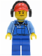 Minifig No: cty0421  Name: Cargo Worker - Overalls with Tools in Pocket Blue, Red Cap with Hole, Headphones
