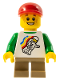 Minifig No: cty0436  Name: Classic Space Minifigure Floating Pattern, Dark Tan Short Legs, Red Short Bill Cap