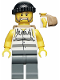 Minifig No: cty0448  Name: Police - Jail Prisoner Shirt with Prison Stripes and Torn out Sleeves, Dark Bluish Gray Legs, Black Knit Cap, Backpack