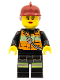 Minifig No: cty0470  Name: Fire - Reflective Stripe Vest with Pockets and Shoulder Strap, Dark Red Fire Helmet, Female Red Lips