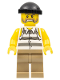 Minifig No: cty0479  Name: Police - Jail Prisoner Shirt with Prison Stripes and Torn out Sleeves, Dark Tan Legs, Black Knit Cap
