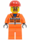 Minifig No: cty0483  Name: Construction Worker - Orange Zipper, Safety Stripes, Orange Arms, Orange Legs, Red Construction Helmet, Beard and Safety Goggles
