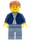 Minifig No: cty0506  Name: Dark Blue Jacket, Light Blue Shirt, Sand Blue Legs, Dark Orange Short Tousled Hair