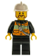 Minifig No: cty0507  Name: Fire - Reflective Stripe Vest with Pockets and Shoulder Strap, White Fire Helmet, Brown Beard