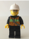 Minifig No: cty0508  Name: Fire - Reflective Stripe Vest with Pockets and Shoulder Strap, White Fire Helmet, Glasses