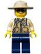 Minifig No: cty0516  Name: Swamp Police - Officer, Vest, Dark Tan Hat, Sunglasses
