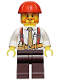Minifig No: cty0529  Name: Construction Foreman - Shirt with Tie and Suspenders, Dark Brown Legs, Red Construction Helmet