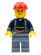 Minifig No: cty0530  Name: Construction Worker - Shirt with Harness and Wrench, Sand Blue Legs, Red Construction Helmet, Sweat Drops