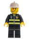 Minifig No: cty0531  Name: Fire - Reflective Stripes, Black Legs, White Fire Helmet, Crooked Smile with Scar
