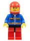 Minifig No: cty0533  Name: Blue Jacket with Pockets and Orange Stripes, Red Legs with Black Hips, Sweat Drops