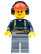 Minifig No: cty0541  Name: Construction Worker - Shirt with Harness and Wrench, Sand Blue Legs, Red Construction Helmet with Headphones, Sweat Drops