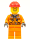 Minifig No: cty0549  Name: Construction Worker - Chest Pocket Zippers, Belt over Dark Gray Hoodie, Red Construction Helmet