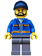Minifig No: cty0576  Name: Blue Jacket with Pockets and Orange Stripes, Dark Bluish Gray Legs, Dark Blue Cap with Hole, Black Beard
