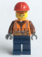 Minifig No: cty0584  Name: Construction Worker - Orange Zipper, Safety Stripes and Belt over Brown Shirt, Dark Blue Legs, Red Construction Helmet, Orange Sunglasses