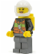 Minifig No: cty0588  Name: Fire - Reflective Stripe Vest with Pockets and Shoulder Strap, White Helmet, Yellow Airtanks, Peach Lips