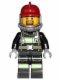 Minifig No: cty0601  Name: Fire - Reflective Stripes with Utility Belt, Dark Red Fire Helmet, Breathing Neck Gear with Airtanks, Trans Clear Visor, Goatee
