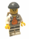 Minifig No: cty0618  Name: Police - Jail Prisoner 18675, Open Shirt, Striped Legs, Gray Knit Cap, Backpack