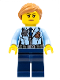 Minifig No: cty0620  Name: Police - City Officer Female, Jacket with Dark Blue Tie, Radio and Gold Badge, Dark Blue Legs, Medium Dark Flesh Ponytail and Swept Sideways Fringe
